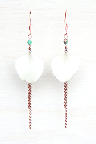 White Hydrangea Pressed Petal Earrings with Turquoise Glass Beads & Double Rolo Dangles