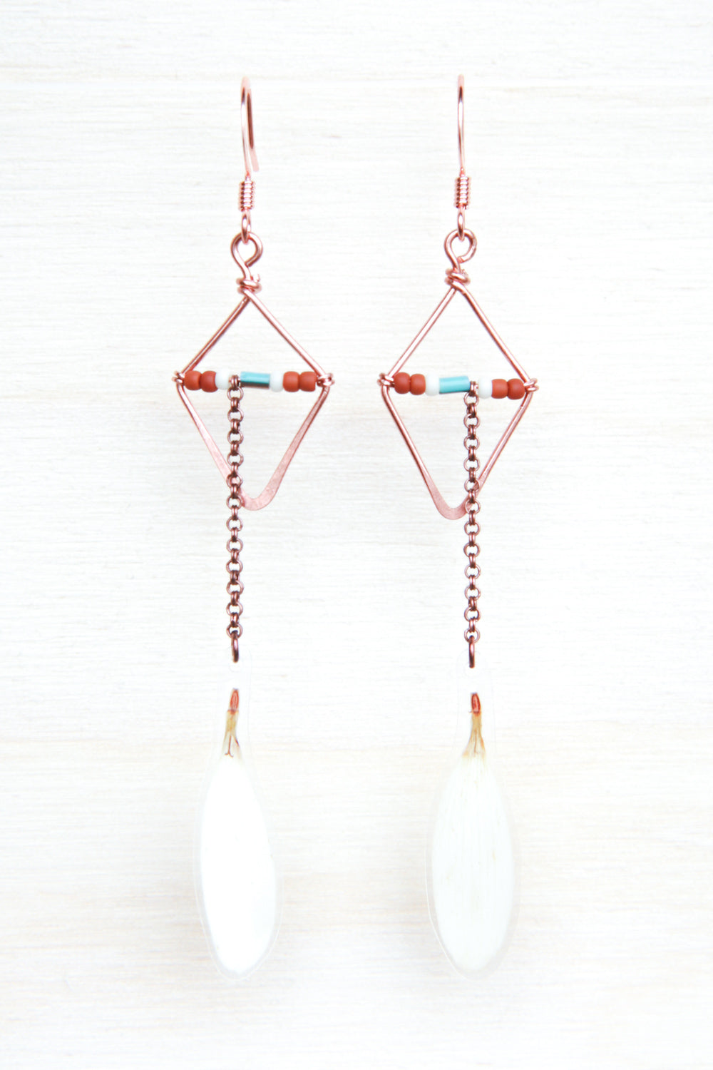 White Shasta Daisy Pressed Petal Earrings with Hammered Copper Diamond Hoops & Terracotta, Cream & Turquoise Glass Beads