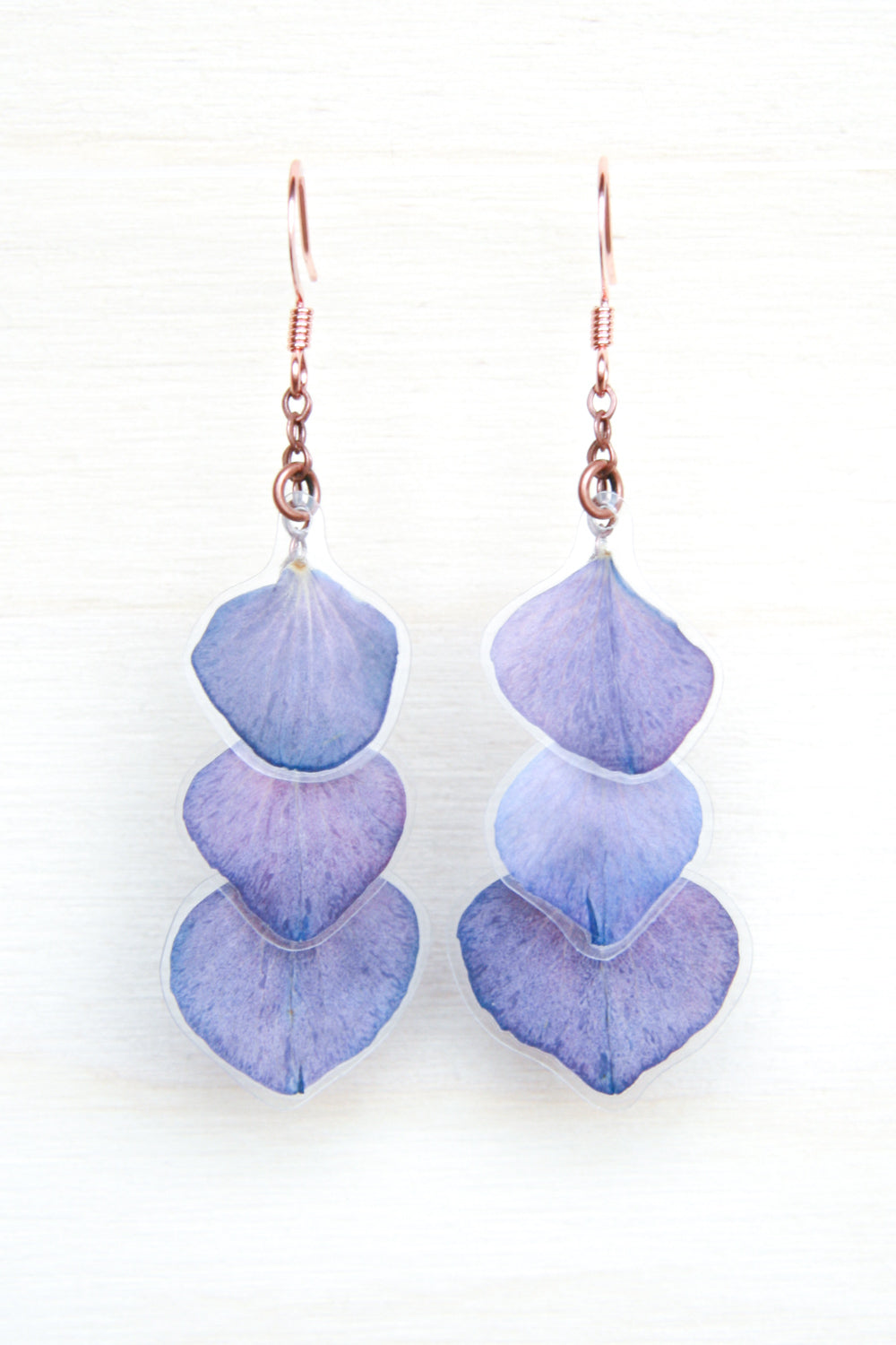 Purple Hydrangea Pressed Petal Earrings