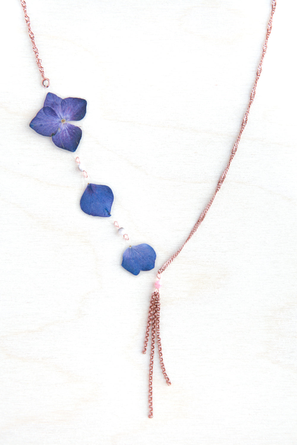 Purple Hydrangea Pressed Flower Necklace with Pink Glass Beads & Double Roll Dangles