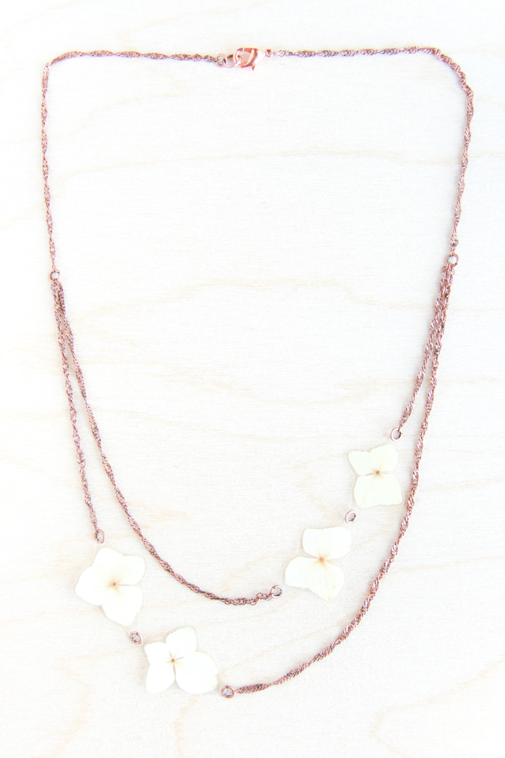 White Hydrangea Pressed Flower Necklace
