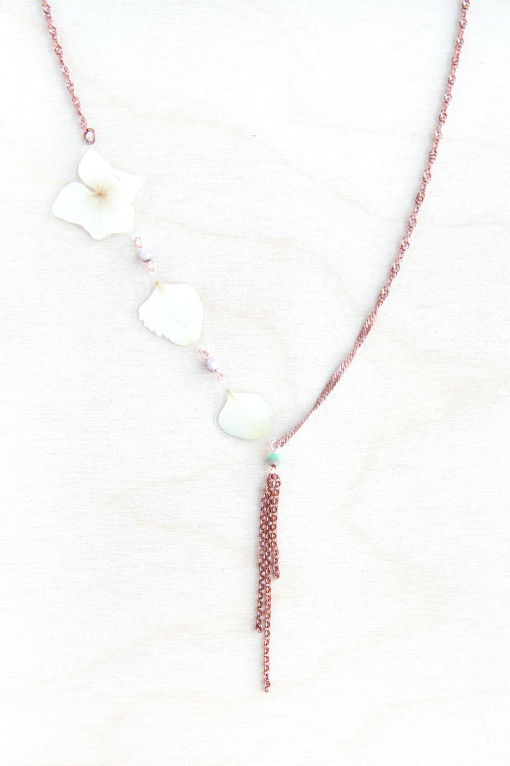 White Hydrangea Pressed Flower Necklace with Turquoise Glass Beads & Double Rolo Dangles