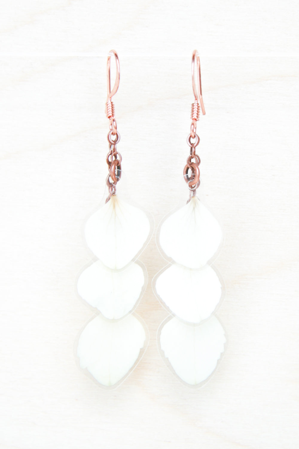 White Hydrangea Pressed Flower Petal Earrings