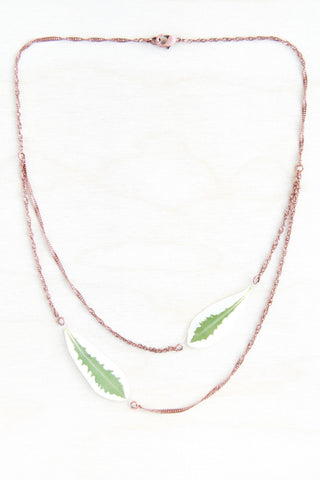 Green & White Snow on the Mountain Pressed Leaf Necklace