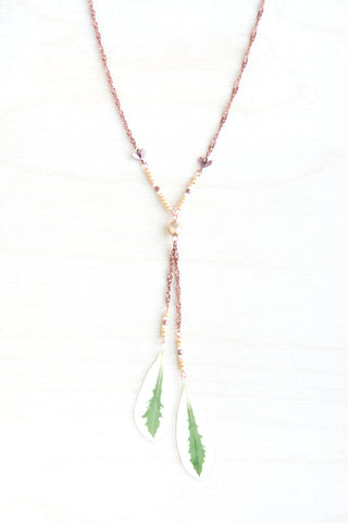 Green & White Snow on the Mountain Pressed Leaf Necklace with Matte Gold Glass & Copper Beads