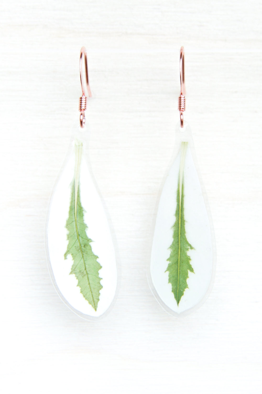 Green & White Snow on the Mountain Pressed Leaf Earrings