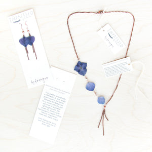 White Hydrangea Flower Lariat Necklace with Blue Beads