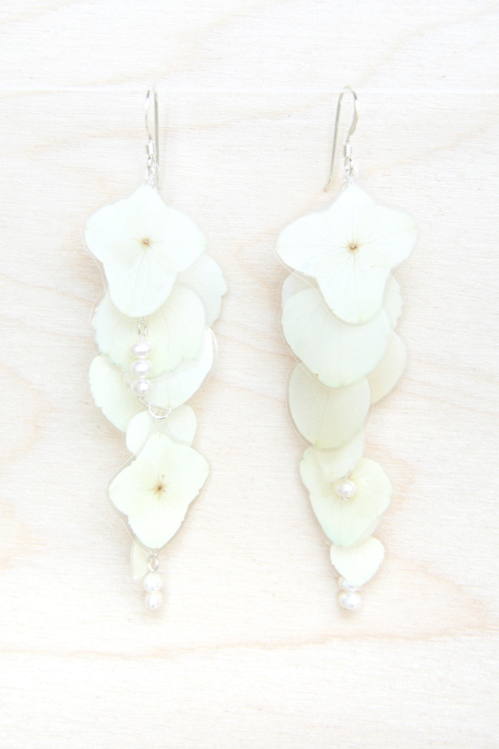 White Hydrangea Pressed Flower Bridal Earrings--Custom Available
