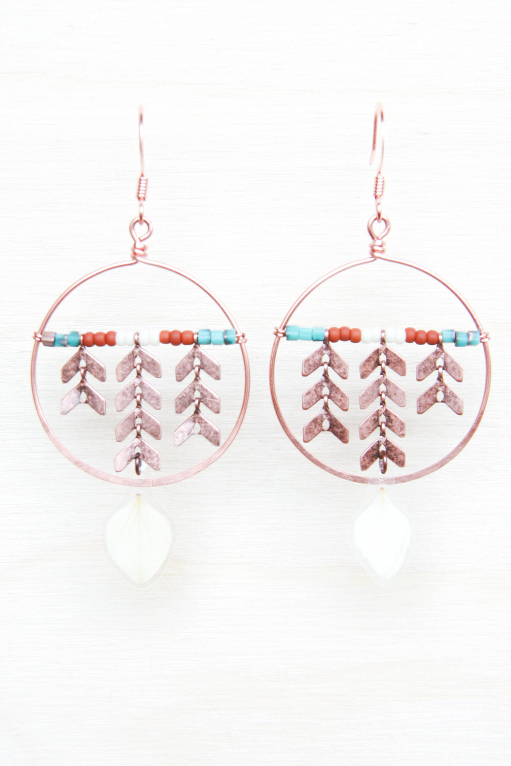 White Hydrangea Pressed Petal Earrings with Copper Chevron & Hoops - Terracotta, Cream & Turquoise