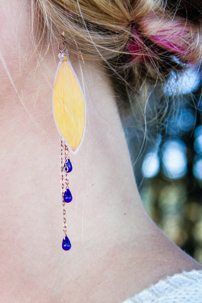 Yellow Sunflower Pressed Flower Earrings with Cobalt Czech Glass Beads