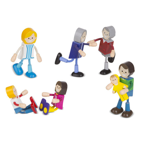 Wooden Flexible Figures - Family Melissa & Doug Role Play- BibiBuzz