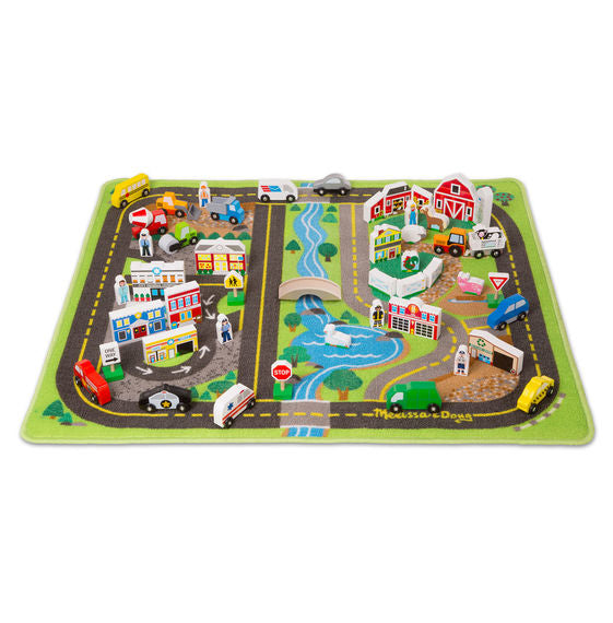 Deluxe Road Rug Play Set Melissa & Doug Pretend Play- BibiBuzz