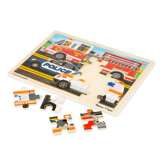 To The Rescue Wooden Jigsaw Puzzle (24pc) Melissa & Doug Puzzles- BibiBuzz