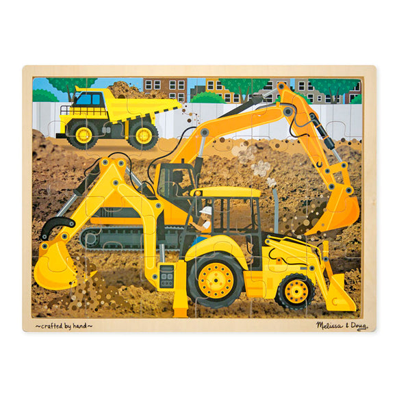 Construction Wooden Jigsaw Puzzle (24pc) Melissa & Doug Puzzles- BibiBuzz