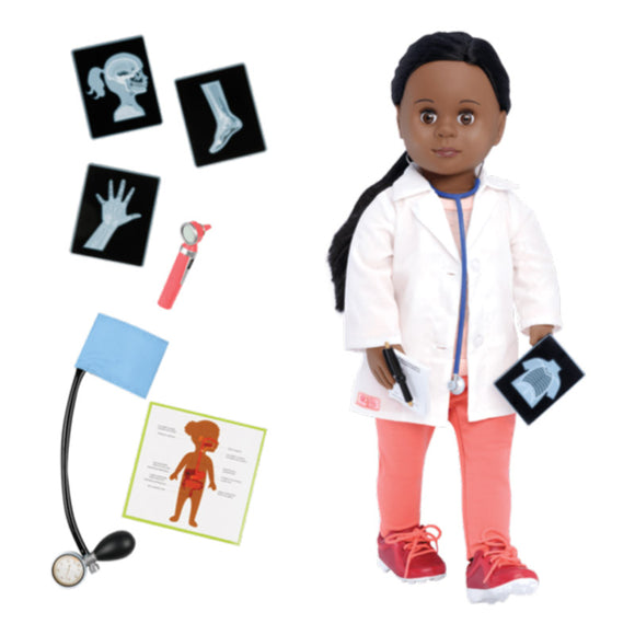 Speciality Doll Family Doctor Meagann 18 Inch Black Hair Our Generation Dolls- BibiBuzz