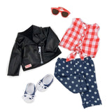 Deluxe Black Jacket Outfit - Back To Cool Our Generation Doll Accessories- BibiBuzz