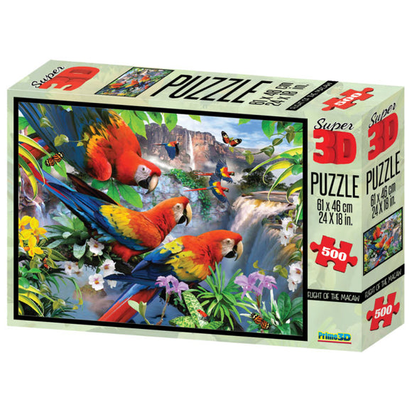 Super 3D Puzzle Flight of the Macaw 500pc RGS Smartplay Puzzles- BibiBuzz