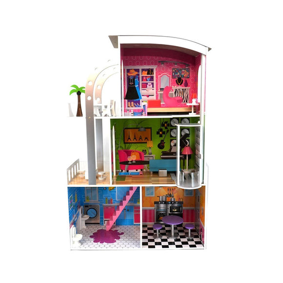 Clifton Doll House with curved roof, lift and furniture