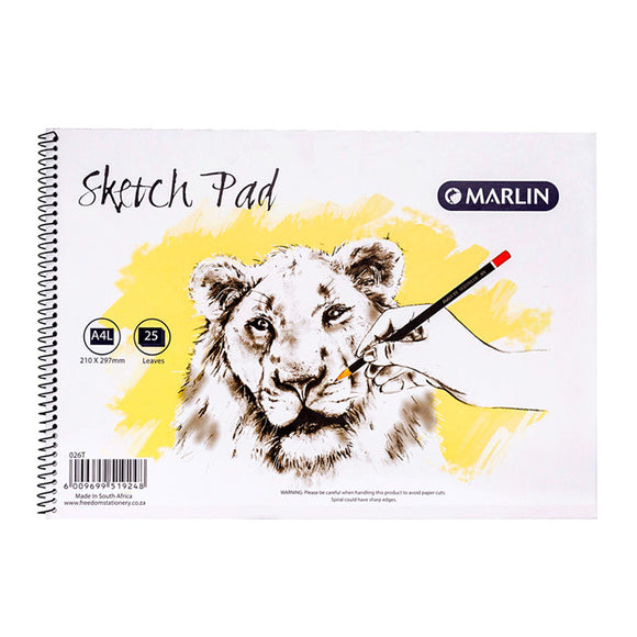 A4L Sketch Pad 25 Sheet Marlin Stationery- BibiBuzz