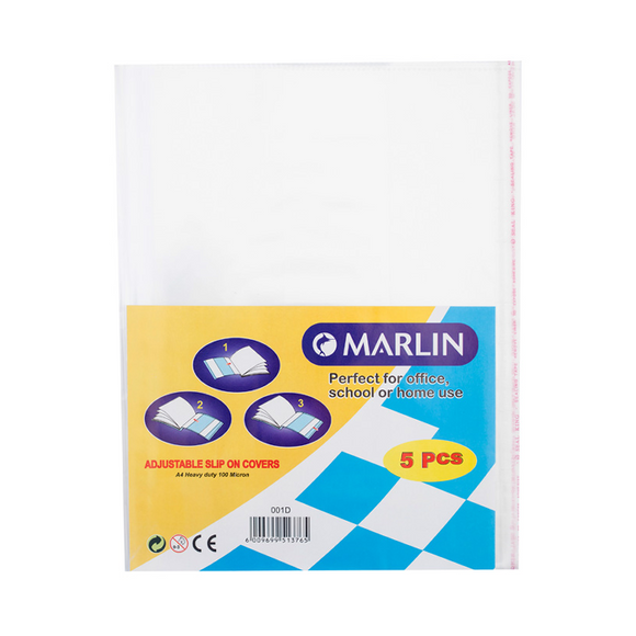 A4 Clear Slip-on Adjustable Plastic Covers (10) HD Marlin Stationery- BibiBuzz