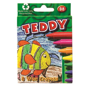 Teddy Medium Wax Crayons Set 8 (B8) Dala Stationery- BibiBuzz