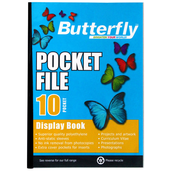 A4 Butterfly Pocket File - 10 Pocket Butterfly Stationery- BibiBuzz