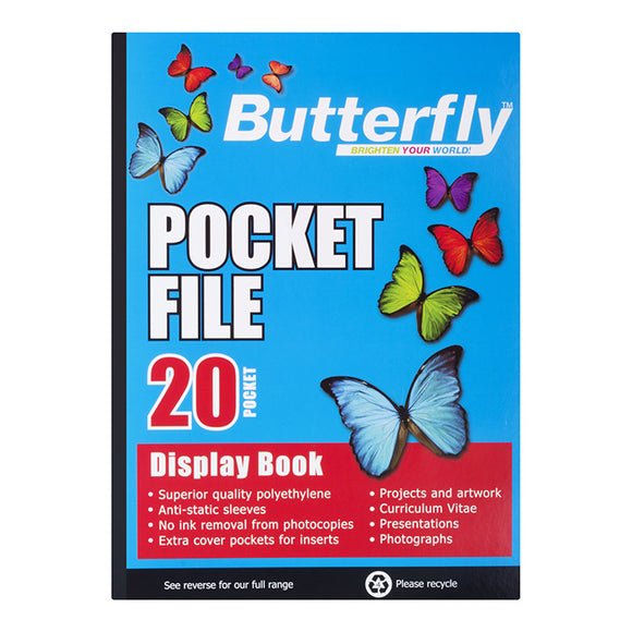 A4 Butterfly Pocket File - 20 Pocket Butterfly Stationery- BibiBuzz