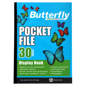 A4 Butterfly Pocket File - 30 Pocket Butterfly Stationery- BibiBuzz