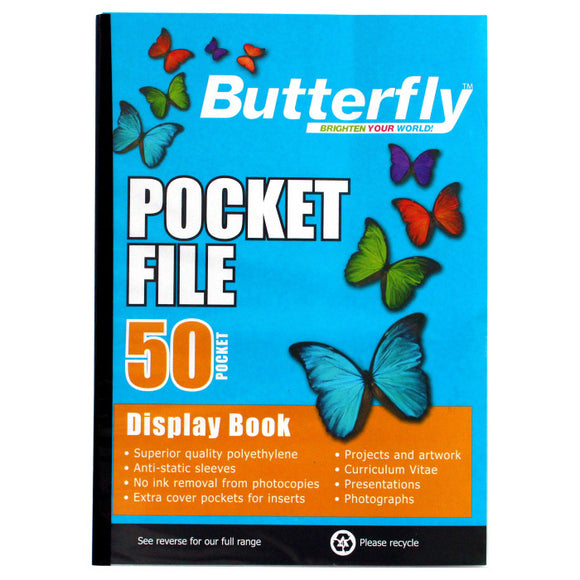 A4 Butterfly Pocket File - 50 Pocket Butterfly Stationery- BibiBuzz