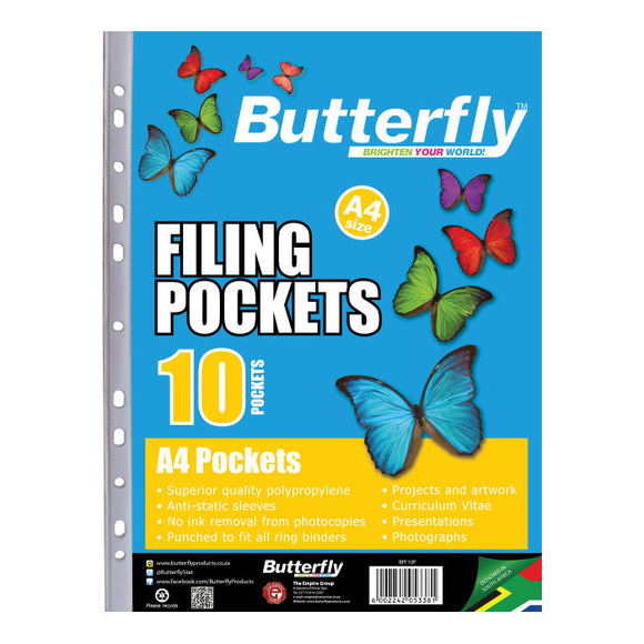A4 Plastic Pockets (10) Butterfly Stationery- BibiBuzz