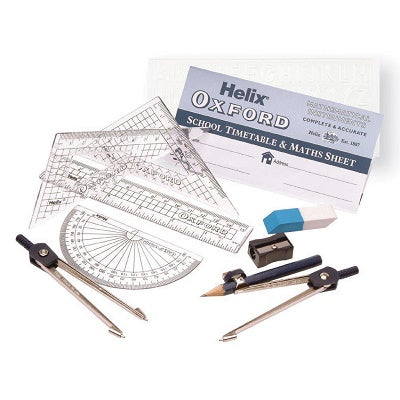 Oxford Maths Set 11 Piece Helix Oxford Stationery- BibiBuzz