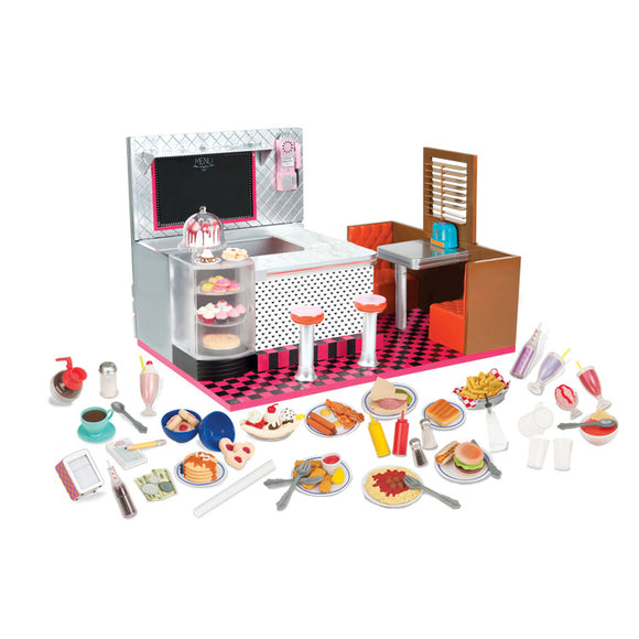 Deluxe Bite To Eat Retro Diner Playset Our Generation Doll Accessories- BibiBuzz