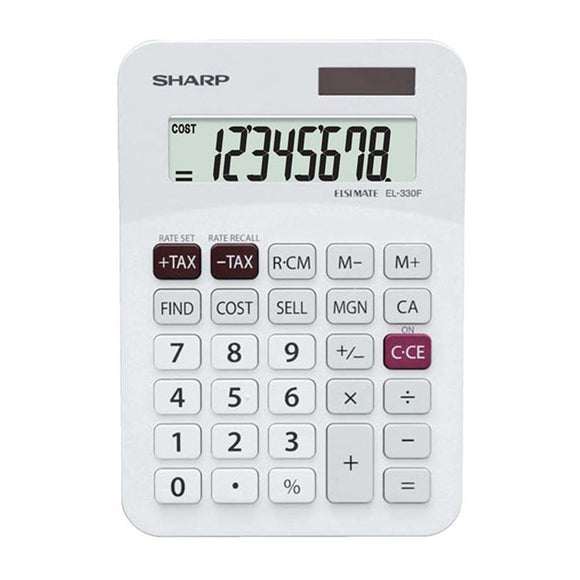 Sharp EL330AB Mini-Desk Calculator (8 digit) Sharp Stationery- BibiBuzz