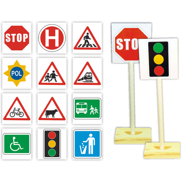 Road Signs (12 Signs & 2 Stands) Idem Smile Life Skills- BibiBuzz