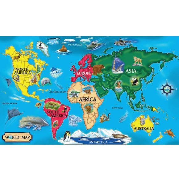 World Map Wooden Jigsaw Puzzle Melissa & Doug Puzzles- BibiBuzz