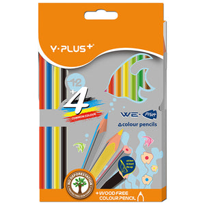 Y-Plus We Fish Coloured Pencils Triangular 12+4 Y-Plus Stationery- BibiBuzz