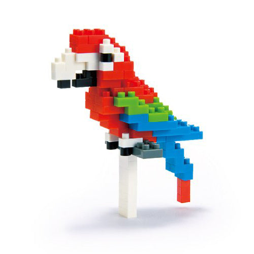 Nanoblocks Red and Green Macaw 110pc Nanoblock Construction- BibiBuzz