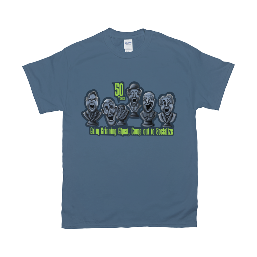 Grimm Grinning Ghost, Com out to Socialize T-Shirts by Topher Adam 2019