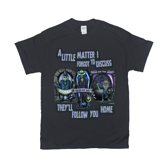 These Three Hitchhiking Ghosts T-Shirts by Topher Adam