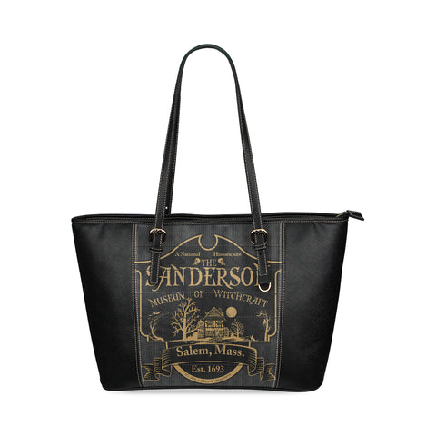 Sanderson Witch Museum Leather Tote Bag/Small (Model 1640)