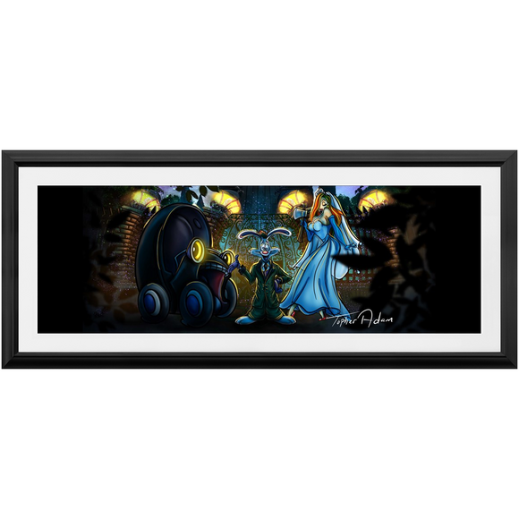 Butler Rodger and Bride Jessica Rabbit by Topher Adam Framed Prints