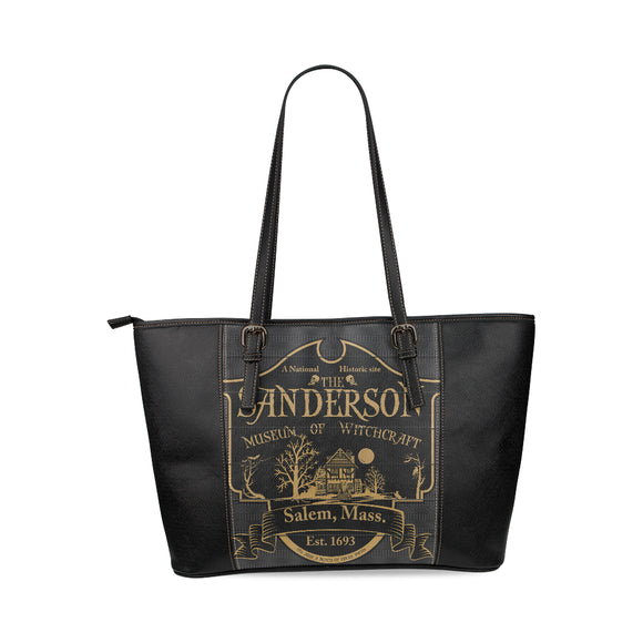 Sanderson Witch Museum Leather Tote Bag/Large (Model 1640)