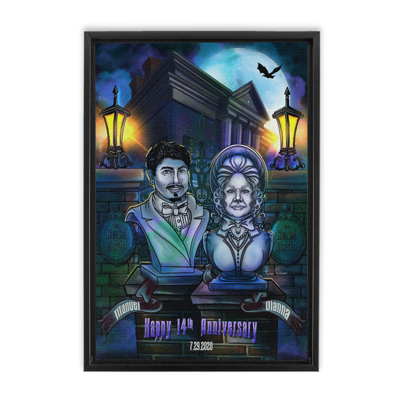 Manuel and Dianna 14th Anniversary Framed Traditional Stretched Canvas by Topher Adam