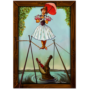An Extended Stretch - tightrope by Topher Adam small Canvas Art Prints