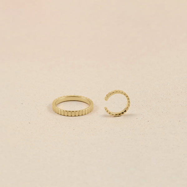 Ridged Ear Cuff and Ring Set 14k Massivgold