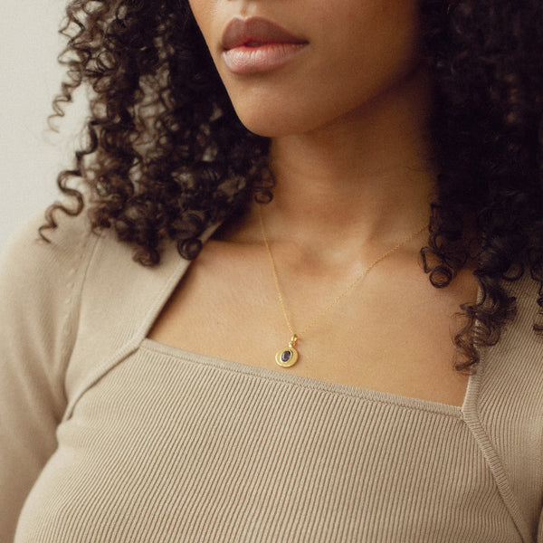 One Gem Necklace 14ct Solid Gold
