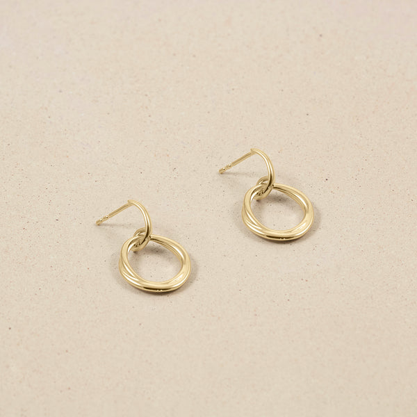 Bonds Path Hoop Earrings - 14ct Solid Gold