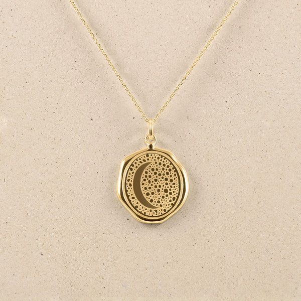 Moon Large Seal Necklace 14ct Solid Gold