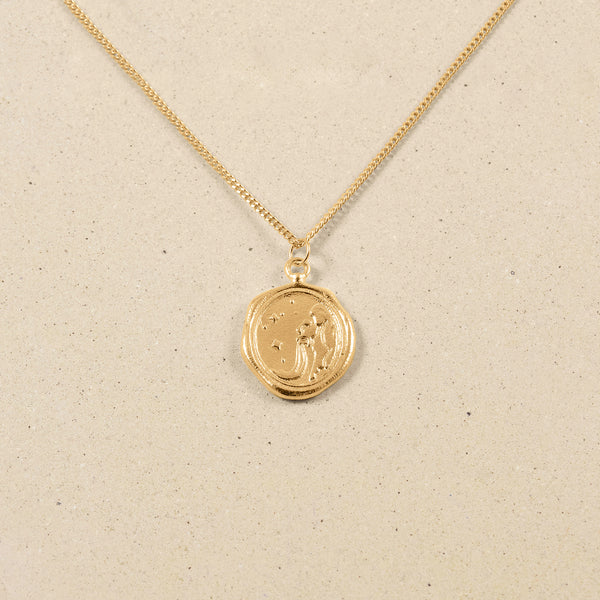 Zodiac Seal Necklace 24k Gold Vermeil
