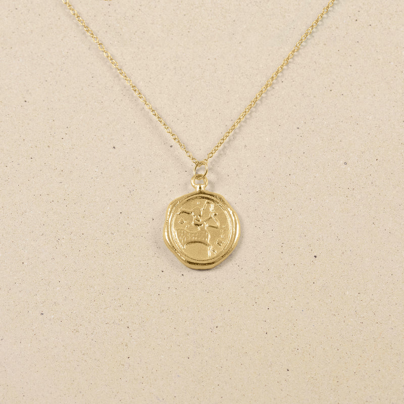 Zodiac Seal Necklace 14ct Solid Gold